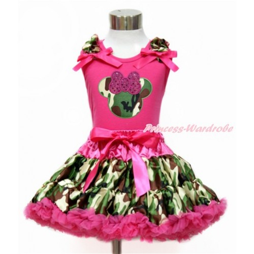 Hot Pink Tank Top with Camouflage Ruffles & Hot Pink Bow with Sparkle Hot Pink Camouflage Minnie Print & Hot Pink Camouflage Pettiskirt MH206