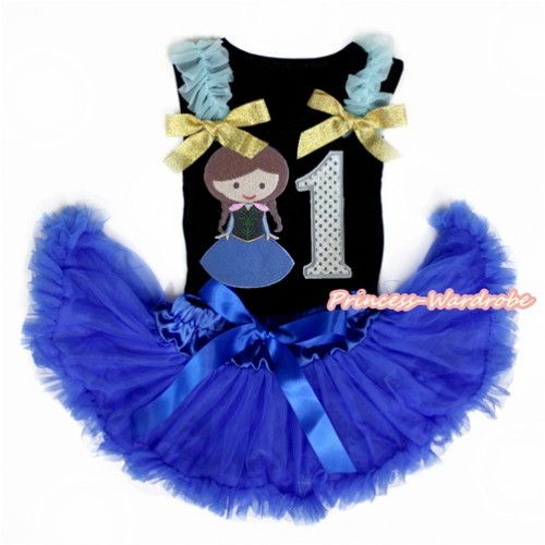 Black Baby Pettitop with Light Blue Ruffles & Sparkle Goldenrod Bow with Princess Anna & 1st Sparkle White Birthday Number Print with Royal Blue Newborn Pettiskirt NG1460