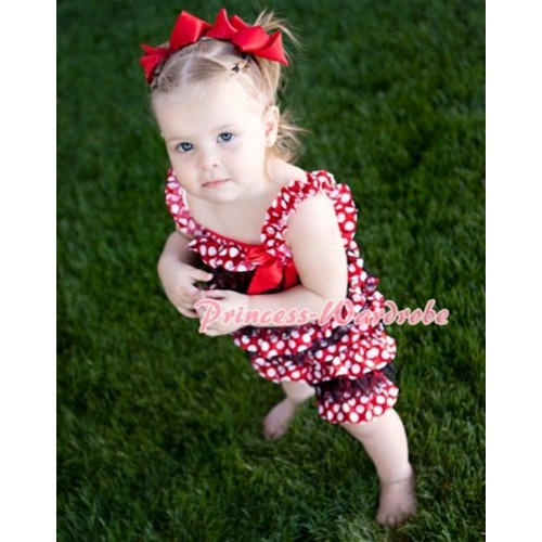 Minnie Dot Black Layer Chiffon Romper with Hot Red Bow & Straps LR57