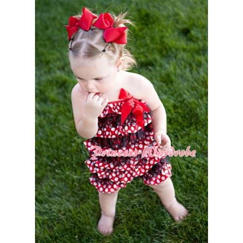 Minnie Dot Black Layer Chiffon Romper with Hot Red Bow LR56