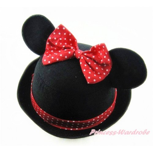 Black Minnie Ear with Red White Dots Bow Bowler Hat H837