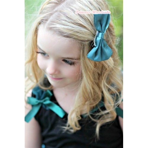 Teal Green Satin Bow Hair Clip H614