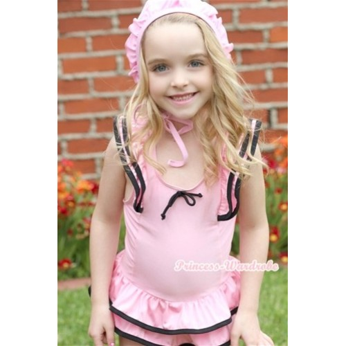 Light Pink Black Layer Sweet Swimming Suit with Cap SW47
