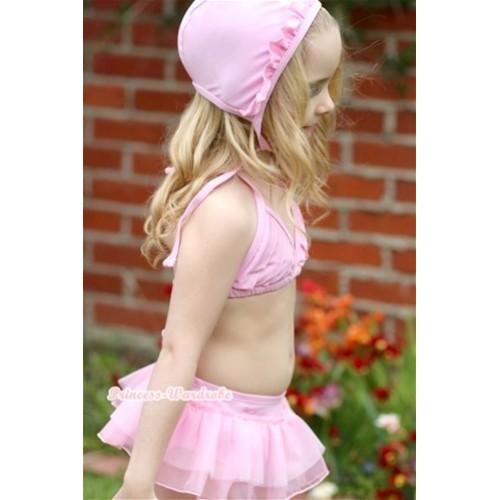 Light Pink Sweet Stripes Layer Bikini Swimwear with Swim Cap SW48