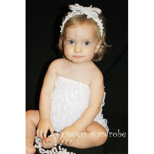 White Lace Ruffles Petti Rompers LR02
