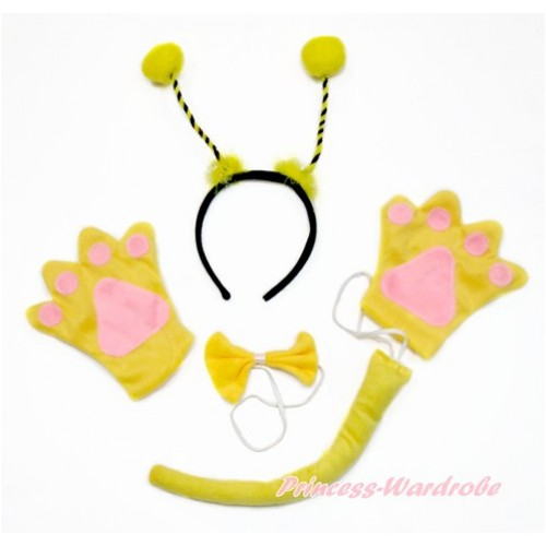 Bumble Bee 4 Piece Set in Headband, Tie, Tail , Paw PC072