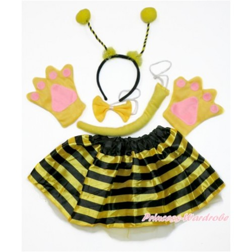 Bumble Bee 4 Piece Set in Headband, Tie, Tail , Paw With Black Yellow Striped Skirt PC073
