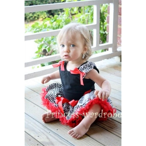 Black Baby Pettitop & Zebra Ruffles & Red Bow with Red Zebra Baby Pettiskirt NG202