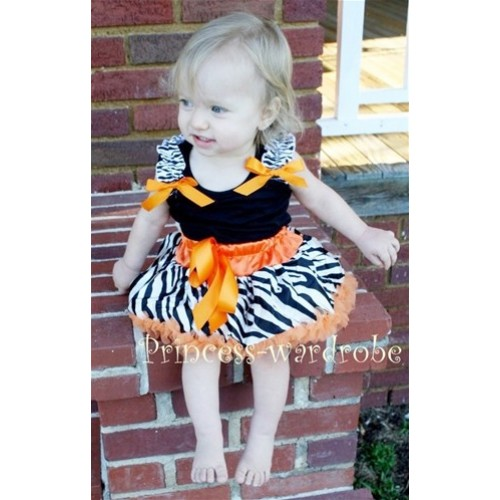 Black Baby Pettitop & Zebra Ruffles & Orange Bow with Orange Zebra Baby Pettiskirt NG207