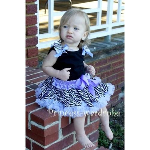 Black Baby Pettitop & Zebra Ruffles & Lavender Bow with Lavender Zebra Baby Pettiskirt NG204