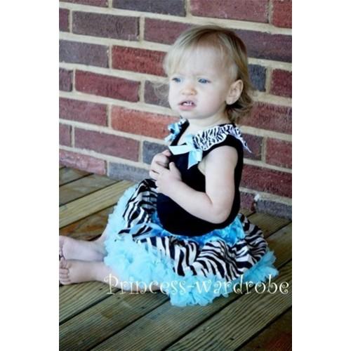 Black Baby Pettitop & Zebra Ruffles & Light Blue Bow with Light Blue Zebra Baby Pettiskirt NG205