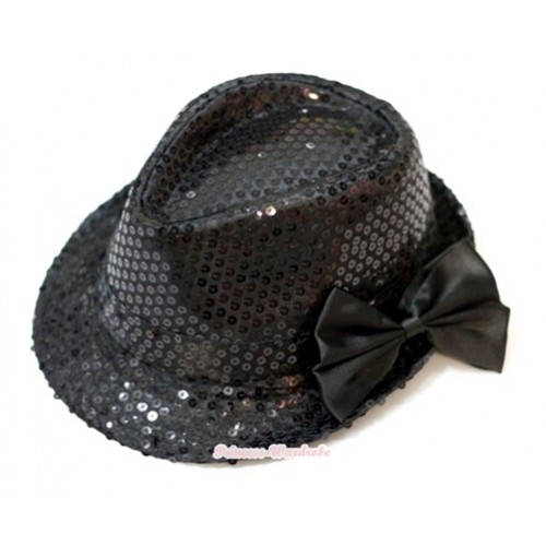 Sparkle Sequin Black Jazz Hat With Black Satin Bow H628