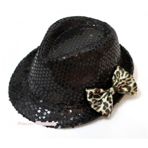 Sparkle Sequin Black Jazz Hat With Leopard Satin Bow H630