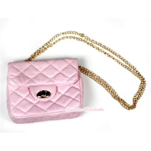 Gold Chain Light Pink Checked Little Cute Petti Shoulder Bag CB61