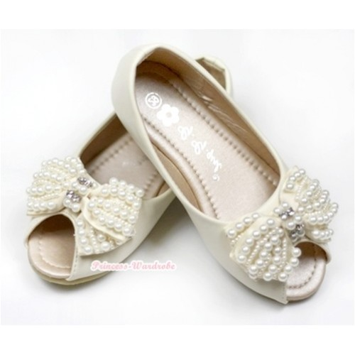 Ivory Cream White Pearl Bow Open Toe Shoes 138-13Beige