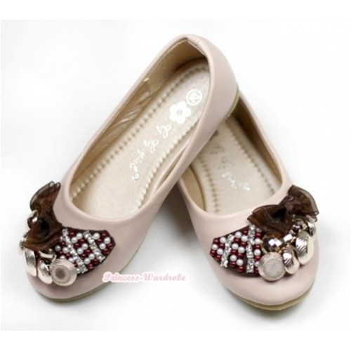 Light Pink Brown Pearl Rhinestone Bow Open Toe Shoes 238-151Pink