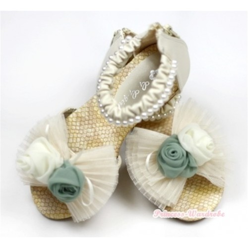 Ivory Cream White Rosettes Chiffon Bow Pearl Flat Ankle Sandals 2688-32Beige