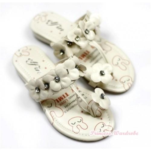 Ivory Cream White Rabbit Rosettes Crystal Flip Flop A813-6Beige