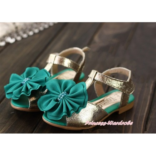 Kelly Green Rosettes Golden T-Strap Flat Slingback Sandals SE013Green