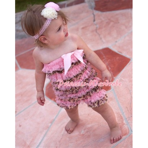 Light Pink Leopard Layer Chiffon Romper with Light Pink Bow LR66