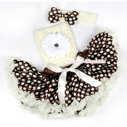 Cream White Brown Gold Polka Dots Baby Pettiskirt,White Flower and Cream White Crochet Tube Top, Cream White Headband with Brown Gold Polka Dots Satin Bow 3PC Set CT547