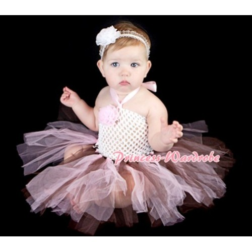 White Crochet Tube Top with Pink Brown Knotted Tutu HT03