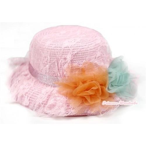 Light Pink Lace & Orange Aqua Blue Rosettes Summer Beach Straw Hat  H650