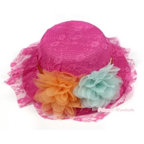Hot Pink Lace & Orange Aqua Blue Rosettes Summer Beach Straw Hat  H651