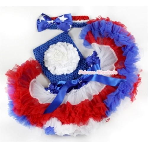 American Stars Waist Red White Royal Blue Premium Baby Pettiskirt,White Peony & Royal Blue Crochet Tube Top, Red White Royal Blue Headband with American Stars Satin Bow 3PC Set CT560