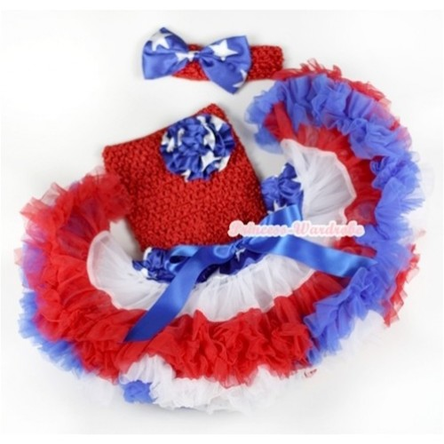 American Stars Waist Red White Royal Blue Premium Baby Pettiskirt, American Stars Rose & Red Crochet Tube Top, Red Headband with American Stars Satin Bow 3PC Set CT562