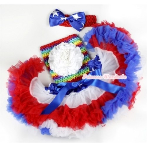 American Stars Waist Red White Royal Blue Premium Baby Pettiskirt, White Peony & Passion Rainbow Crochet Tube Top, Red Headband with American Stars Satin Bow 3PC Set CT563