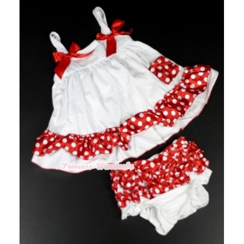 White Minnie Polka Dots Swing Top with Red Bow Matching White Minnie Polka Dots Panties Bloomers SP08