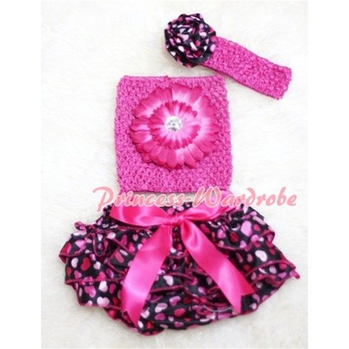 Big Bow Hot Pink Heart Panties Bloomers with Hot Pink Flower Hot Pink Crochet Tube Top and Rose Headband 3PC Set CT85