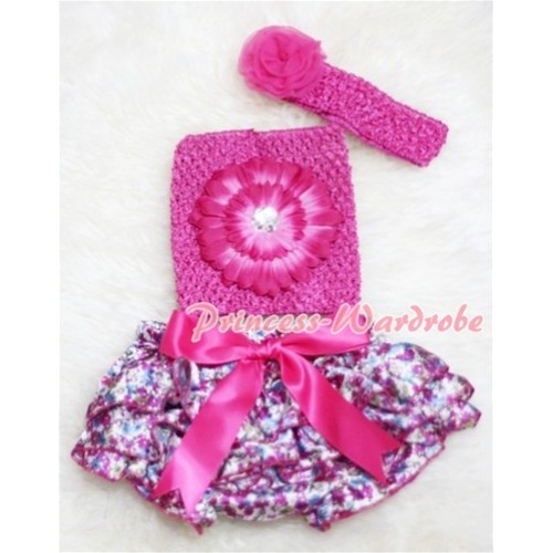 Hot Pink Floral Bloomer with Giant Bow, Hot Pink Flower Hot Pink Crochet Tube Top, Rose Headband 3PC Set CT87