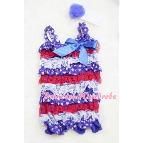 Patriotic America Red White Blue Layer Chiffon Romper with Royal Blue Bow & Straps with Headband Set RH24