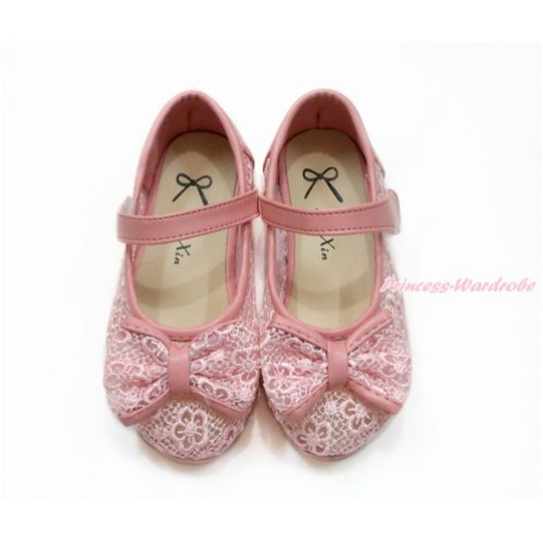Light Pink Lace See Through With Bow Slip On Girl Shoes 002LightPink