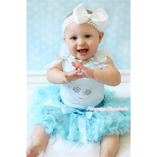 Light Blue Baby Pettitop with White Ruffles & Sparkle Silver Grey Bows with Sparkle Crystal Bling Rhinestone Princess Elsa Print & Light Blue Newborn Pettiskirt With White Headband White Silk Bow NG1454