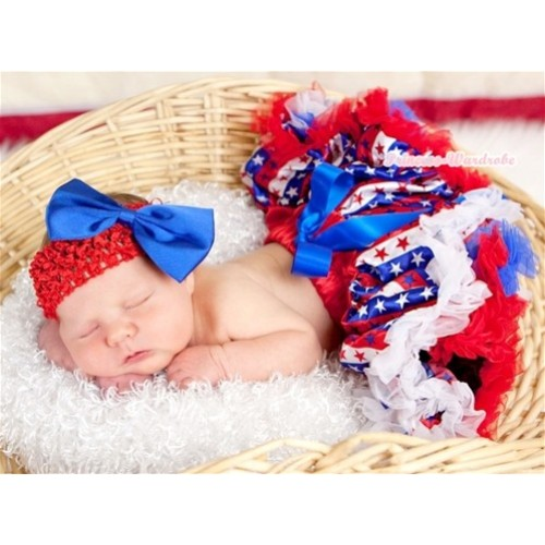 Red White Royal Blue Striped Stars Newborn Pettiskirt N121