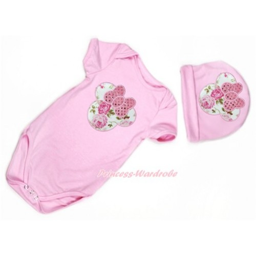 Light Pink Baby Jumpsuit with Sparkle Light Pink Rose Minnie Print with Cap Set JP56