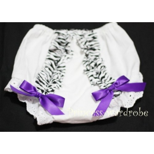 White Bloomer & Zebra Ruffles & PurpleBows Bloomers BZ07