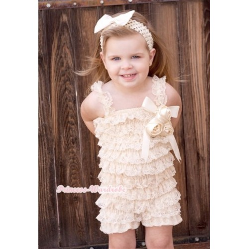 Cream White Lace Ruffles Rompers With Straps With Big Bow & Bunch Of Cream White Satin Rosettes& Crystal,With Cream White Headband Cream White Satin Bow RH133
