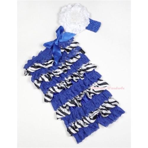 Royal Blue Zebra Satin Layer Romper with Royal Blue Bows with Royal Blue Headband White Peony Set RH113