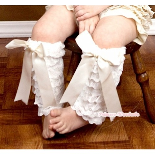 Baby Cream White Lace Leg Warmers Leggings with Cream White Ribbon LG234