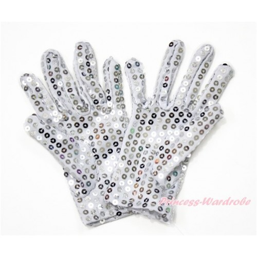 White Silver Grey Sparkle Sequins Gloves Party Costume C258