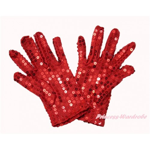 Hot Red Sparkle Sequins Gloves Party Costume C260