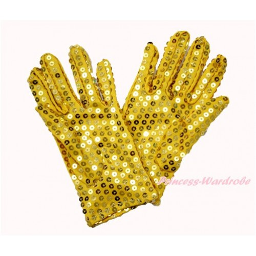 Gold Sparkle Sequins Gloves Party Costume C261