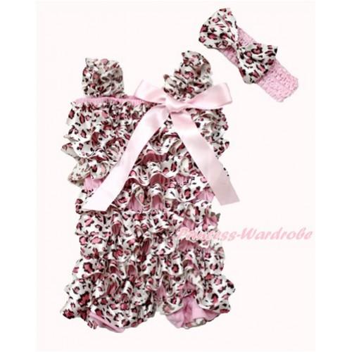 Light Pink Leopard Satin Petti Romper with Light Pink Bow & Straps With Light Pink Headband Light Pink Leopard Satin Bow 2pc Set RH141