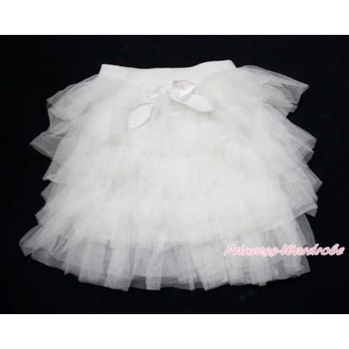White Chiffon Tiered Layer Skirt Dress B257