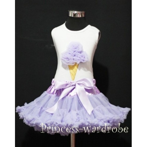 Lavender Pettiskirt With Lavender Ice Cream White Tank Top MS109