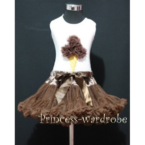 Brown Pettiskirt With Brown Ice Cream White Tank Top MS110